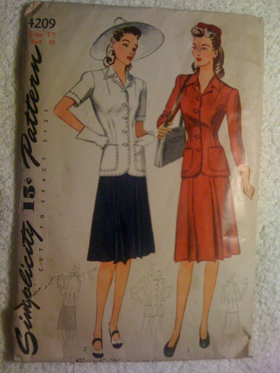Simplicity 40s Sewing Pattern 4209 Misses Two Piece Dress Size 12 Sale