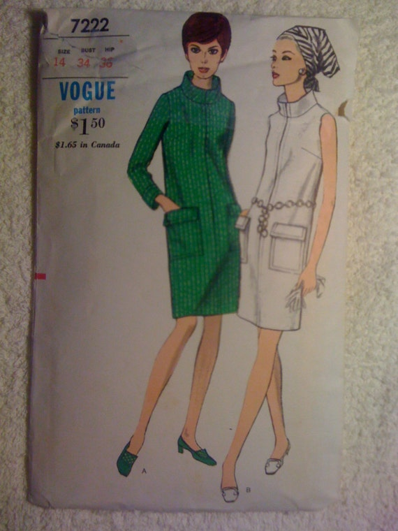 70s Misses One Piece Slim Dress Vogue Sewing Pattern 7222 Size 14 Sale