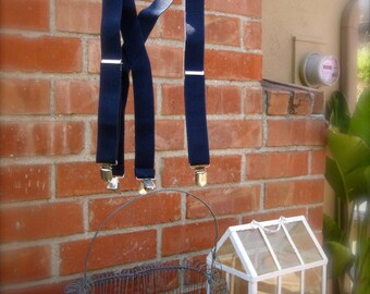 Navy blue suspenders for little boys,  adjustable suspenders