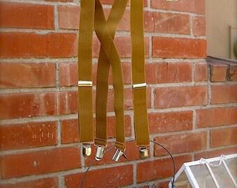 Golden tan suspenders for little boys,  adjustable suspenders