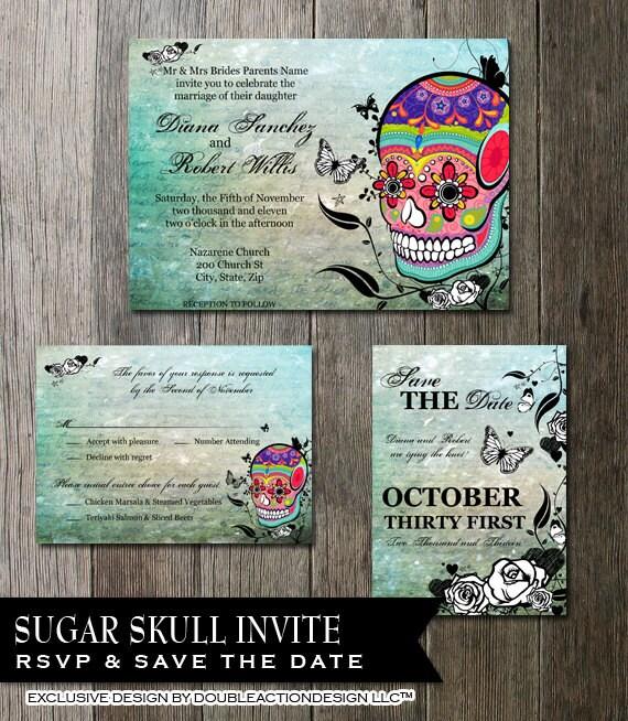 Skull Wedding Invitation Set Sugar Skull Invite Day of the