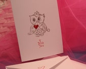 Set of 5 Hand Stamped Owl I love you cards