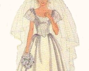 80s Style Wedding Dress Bridal Bride Gown Bridesmaid McCall's Sewing Pattern Fitted Bodice Full Skirt Ruffle Hem Train Bust 32