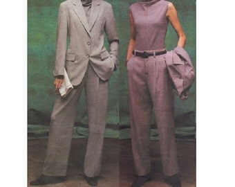 DKNY Vogue American Designer Sewing Pattern Donna Karan Two Piece Suit Classic Style Straight Leg Pants Bust 32