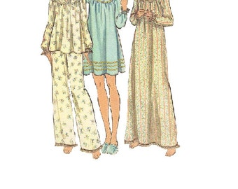 Butterick Sewing Pattern 1970s Woman's Pajamas Pjs Nightgown Sleepwear Size Small Easy to sew Uncut