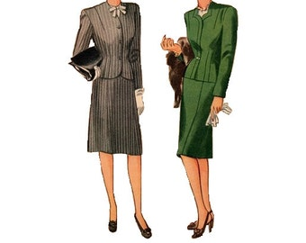 Simplicity 1223 Sewing Pattern 1940s Two Piece Suit Slim Fit Skirt Bodice Fitted Jacket WWII Wartime Fashion Bust 34