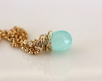 aqua blue chalcedony drop necklace wire wrapped in 14k gold filled wire on delicate gold filled chain, modern handmade jewelry by girlthree