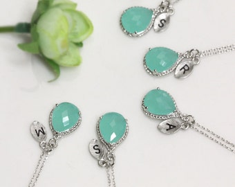 Bridesmaid gifts - Set of 4, 5, 6 - Leaf initial, Mint crystal drop necklace, Gorgeous Drop ,stone in twisted bezel, Initial necklace