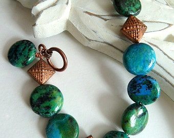 SALE ! Bracelet, Blue Green Chrysocolla and Copper Bracelet, Stone and Antique Copper Bracelet, Boho Style, Chinese Chrysocolla Stones