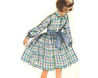 Simplicity 3569 Vintage 60s Lovely Little Girls Shirt Dress, Long or Short Sleeves, Full Skirt Sewing Pattern Size 8