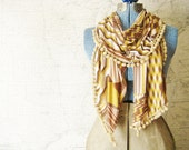 Soft Jersey Pom Pom Scarf- Pink, Brown, & Mustard Fabric Scarf- Geometric Fashion Scarf with Pom-poms