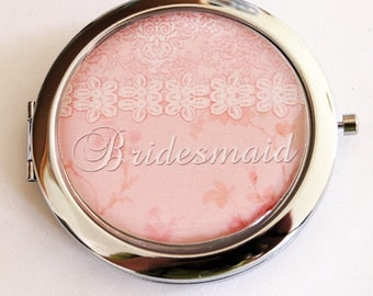 Bridesmaid mirror, mirror, Compact Mirror, Bridesmaid gift, wedding shower gift, Wedding party, Personalized, pale pink, custom gift  (2186)