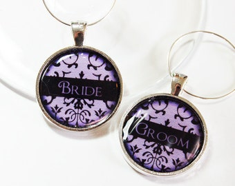 Wedding Wine Charms, Bride Groom, Wine Charms, barware, Wedding Shower, wedding reception, wedding table setting, purple, damask (2655)