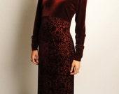 vintage 90s oxblood velvet burnout maxi dress - long sleeve maxi dress - velvet burnout - small S
