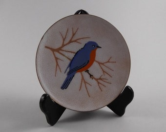 Eastern Bluebird - Vintage Artist Signed R.L. Whyte Exposed Copper & Enamel Decorative Plate Plaque - Mid Century Modern Enamelist