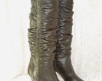 Adrienne Vittadini Brown Leather Slouch Boots Tall Women's Size 8