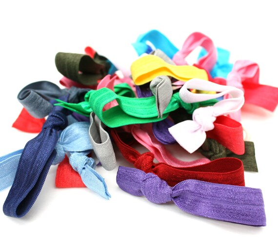 Hair Scrunchies - Yoga Hair Ties - Preppy Hair Elastic Bands - Ribbon Hair Elastics Kids  - Homemade Hair Ties - Teen Gift Idea