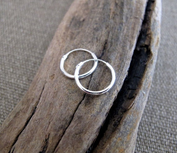 15mm Sterling Silver Hoop Earrings / Small Rounded Hoops / 2 Tiny Hoops, 10mm / 12mm / 7mm / Helix / Cartilage / Tragus  / Minimalist