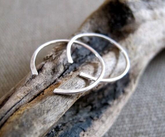 Small Hoop Earrings - Sterling Silver Hoops - Elegant Hammered open hoop earrings for women, men, girls / Handmade Jewelry / Fashion