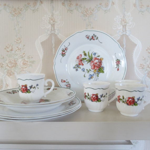 Moving Sale Arcopal Dishes Set With Floral Peony By Thisattic