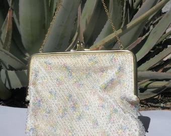 Midcentury Beaded Clutch. CORDE-BEAD. c. 1940's-50s. Embroidered. Pastels. Wristlet. Handbag. Evening Bag. Purse.