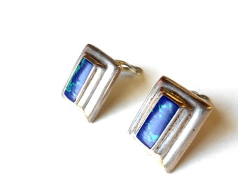 Taxco Earrings, Mexican Sterling & Azurite Chunky Modernist Vintage Earrings