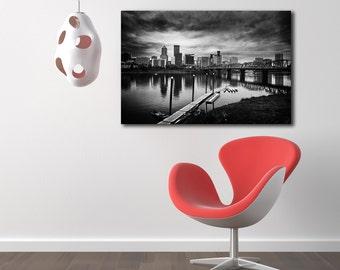 Portland Oregon Skyline Black and White Gallery Canvas Wrap--Fine Art HDR 24x36
