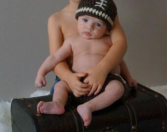 Crochet Baby Football Hat Brown Wool Chunky photo prop