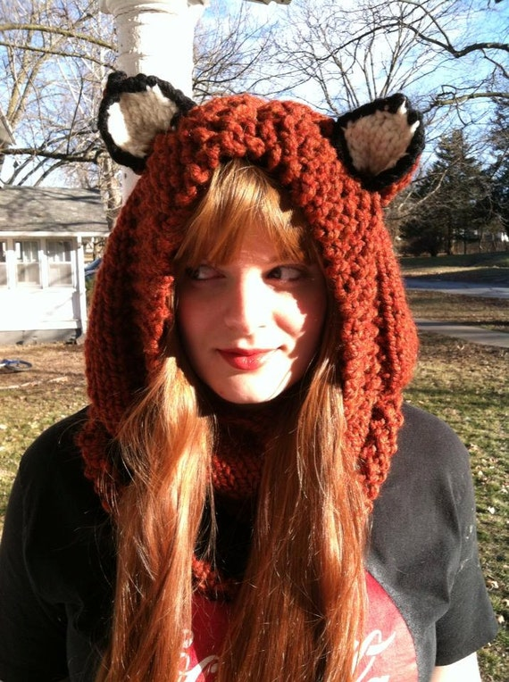 Ginger Fox Hoodie, Animal Hat, Hood, Chunky Knit Cowl, Animal Ear Hoodie,  Winter Fashion, Fox Winter Hat, Trending Accessories, Knit Hat,