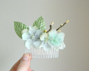 SALE Hint of Mint Hair Comb - Bridal Flower Hair Accessory - Blue Aqua Turquoise Bride Bridesmaid