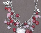 Necklace-Beaded Necklace-Heart Locket-Necklace-Heart Necklace-Heart Pendant-Valentine Necklace-Heart Jewelry-LOVE Charm Necklace-OOAK