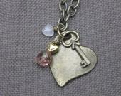 Necklace-Charm Necklace-Heart Charm Necklace-Gold Chain Necklace-Heart Necklace-Heart Pendant Necklace-Valentine Jewelry-Valentine Necklace