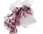 Purple Bridal Glass Leaf Hair Comb, Purple Glass Leaf Hair Piece, Purple Wedding Hair Accessories,  Purple Winter Wedding Jewelry