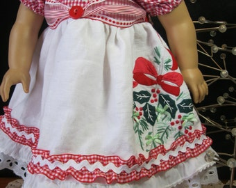 "At Grandma's for Christmas dress for 18"" dolls like American Girl, embroidered linen,satin bows,ribbons,ruffles,gingham"