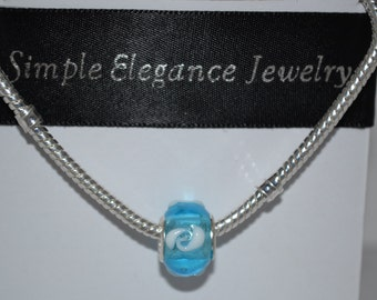 EB-391   European Light Blue Glass Bead with White Accents