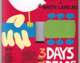 Woodstock Music Poster - 3 Days of Peace & Music Switchplate Cover - Single Jumbo size (348)