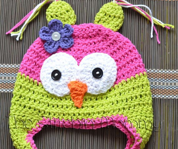 Custom Crochet Owl Hat For Girl or Boy - Various Sizes Available