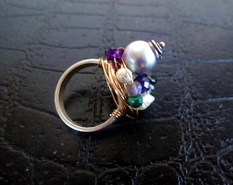 The My Precious - Sterling silver band, 14k gold filled wire wrapped ring, with semi precious stones.