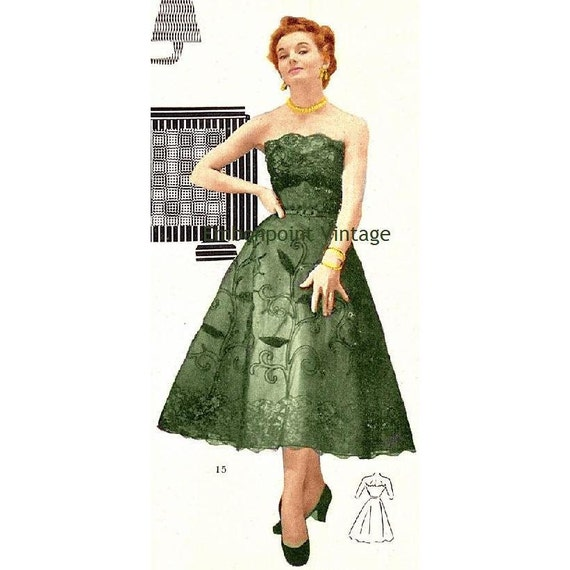 Plus Size (or any size) Vintage 1949 Dress Sewing Pattern - PDF - Pattern No 15 Naomi