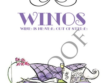 WINOS - Wine Is Never Out of Style Humorous Custom Wine Label 4 Designs to Choose From