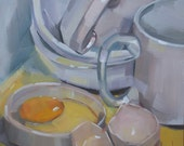 Egg, Mugs & Bowls, Original Oil Painting, 6 x 6 inches