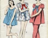 Advance 8489, Shortie Pajama Set, 1950s sewing pattern, Size Small women