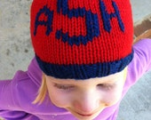 KNIT hat - 3-letter monogram - baby child - You Choose the Size and color