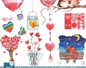 Hand Painted Watercolor Love is in the Air Clipart - card design, invitations, stickers, paper crafts, web design - INSTANT DOWNLOAD