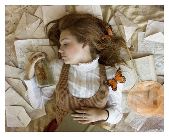 A Study in Butterflies - 8x10 - Woman in Tweed with Butterflies - Conceptual Portrait - Fine Art Photography Print - Home Decor Art
