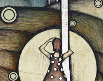 Approaching Storm Illustration, Drawing of  Woman in Polka Dot Dress, Twister Illustration, Springtime Tornado Art Print