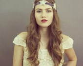 The Jezebel Halo -  1920's vintage inspired headband, crown, beaded rhinestone star head piece, The Great Gatsby