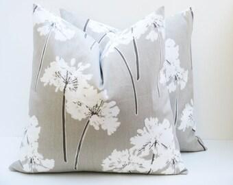 Pillow. Cream Pillow Cover. Dandelion Pillow. Throw Pillow Covers 20x20 Tan Pillow.Housewares.Home Decor. Printed Fabric Both Sides