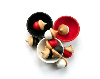Eco Friendly Stacking Sorting Toy - Montessori Toddler - Color Matching - Natural - Black, Red, White