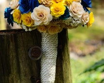 Royal Blue  and Yellow Wooden Bouquet for Wedding and Home Decor Centerpiece